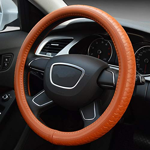 GUVDYJ Steering Cover Luxury Black Genuine Leather Car Steering Wheel Cover Four Seasons Anti Skid Auto Steering Cover Car Styling 38cm,Khaki from GUVDYJ