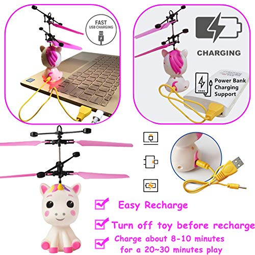 Unicorn Flying Ball RC Toy for Kid Girls,Inductive Flying Toys Drone Helicopter with Remote & Hand Controlled Rechargeable Flash Light Indoor Outdoor Light Up Toy Party Favors Supplies Gift for 3+ Boy by Randosk (Image #4)