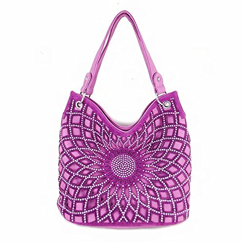 Texas West Women's Bling Rhinestone Concho Hobo Handbag in 3 Colors (Purple) (Texas Bling)