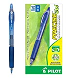 Pilot BeGreen Precise Gel Retractable Rolling Ball Pens Fine Point Blue Ink Dozen Box (15002) Retractable, Refillable & Premium Comfort Grip, Smooth Lines to the End of Page