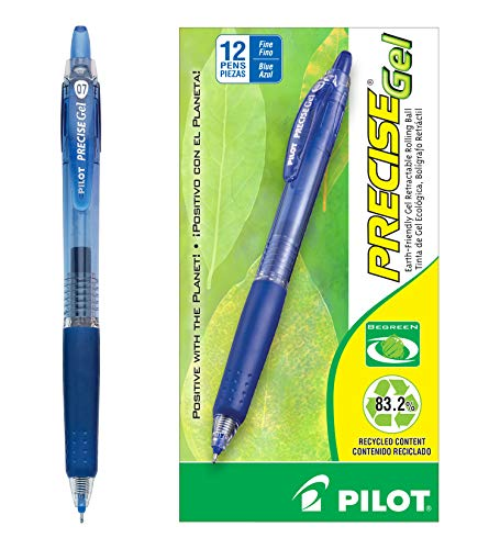 - Pilot BeGreen Precise Gel Retractable Rolling Ball Pens Fine Point Blue Ink Dozen Box (15002) Retractable, Refillable & Premium Comfort Grip, Smooth Lines to the End of Page