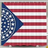 BINGO FLAG Funny Fabric Shower Curtain Red And Blue Star Flag Waterproof Bathroom Decor With Hooks 60 X 72 Inch