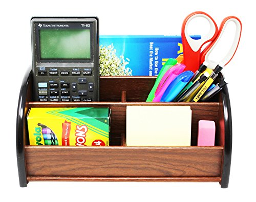 Cherry Brown Wooden Office Desk Organizer With 1 Paper/CD/DVD Rack and 4 Storage Compartments for Office Supplies and Desk Accessories - For Use on Desktop|Table|Counter in Kitchen or Work Space