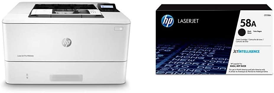 HP Laserjet Pro M404dn Monochrome Laser Printer With Built-In Ethernet & Double-Sided Printing - Ethernet Only (W1A53A) with Standard Yield Black-Toner-Cartridge