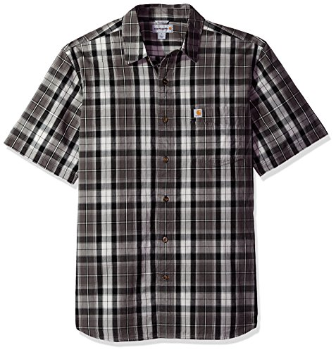 Carhartt Men's Essential Plaid Open Collar Short Sleeve Shirt, Gravel, X-Large