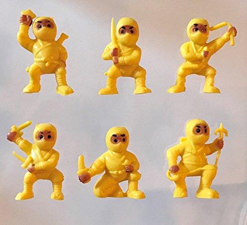 40 Yellow Mini Karate Ninjas Warriors Fighters Figures Cupcake Cake Toppers Ninja Kung Fu Guys Martial Arts Men Lot Party -