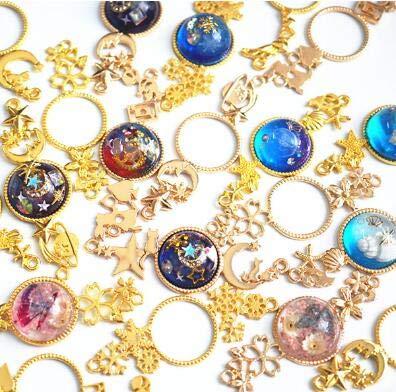 HATCHMATIC 7pcs Double Hanging Sakura Snowflake Charms Moon Cat Open Bezels Gold Metal DIY Accessories UV Resin Jewelry Pendant Craft: 7pcs Mix -