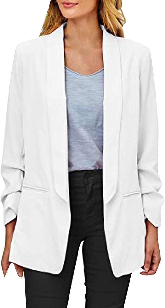 Donna Cardigan Blazer Vestiti Eleganti Ragazze Manica Lunga V Neck Abito da Giorno Abiti Tubino Casual Vestito Tailleur Puro Colore Dress Abbigliamento Ufficio S-3XL