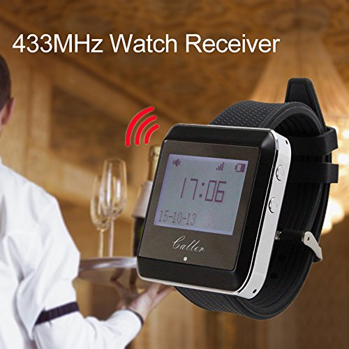 433MHz Watch Receive Wireless Calling System - Restaurant Equipment Waiter Call Pager Catering Customer ()