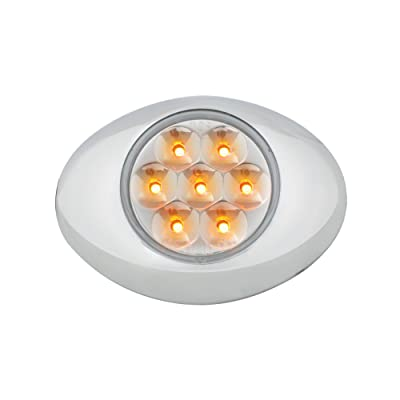 Grand General 76231 Amber Small Low Profile 7-LED Marker Clearance Sealed Light with Chrome Bezel and Clear Lens: Automotive