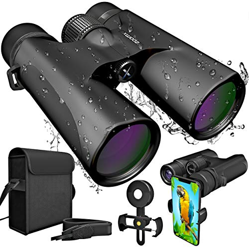 ZoomX Binoculars for Adults. 10x42 Waterproof Lightweight Compact Binocular Prism Bak4. HD Binocular for Bird Watching Hunting Traveling and Sightseeing with Smartphone Adapter, Grey