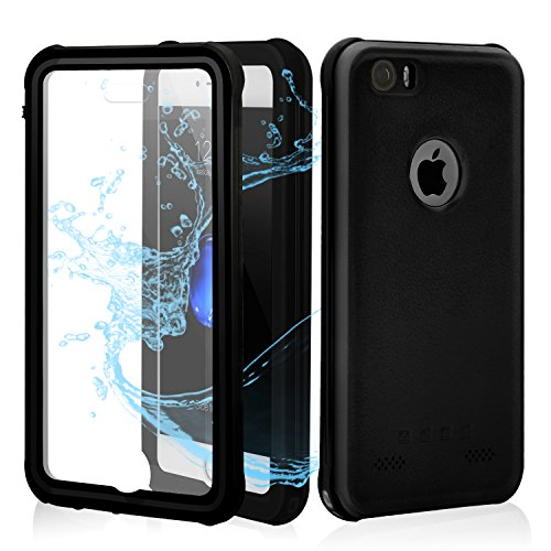 iPhone 5/5S/SE Waterproof Case, IP68 Full Body Underwater Cellphone Cover with Clear Sound- Black