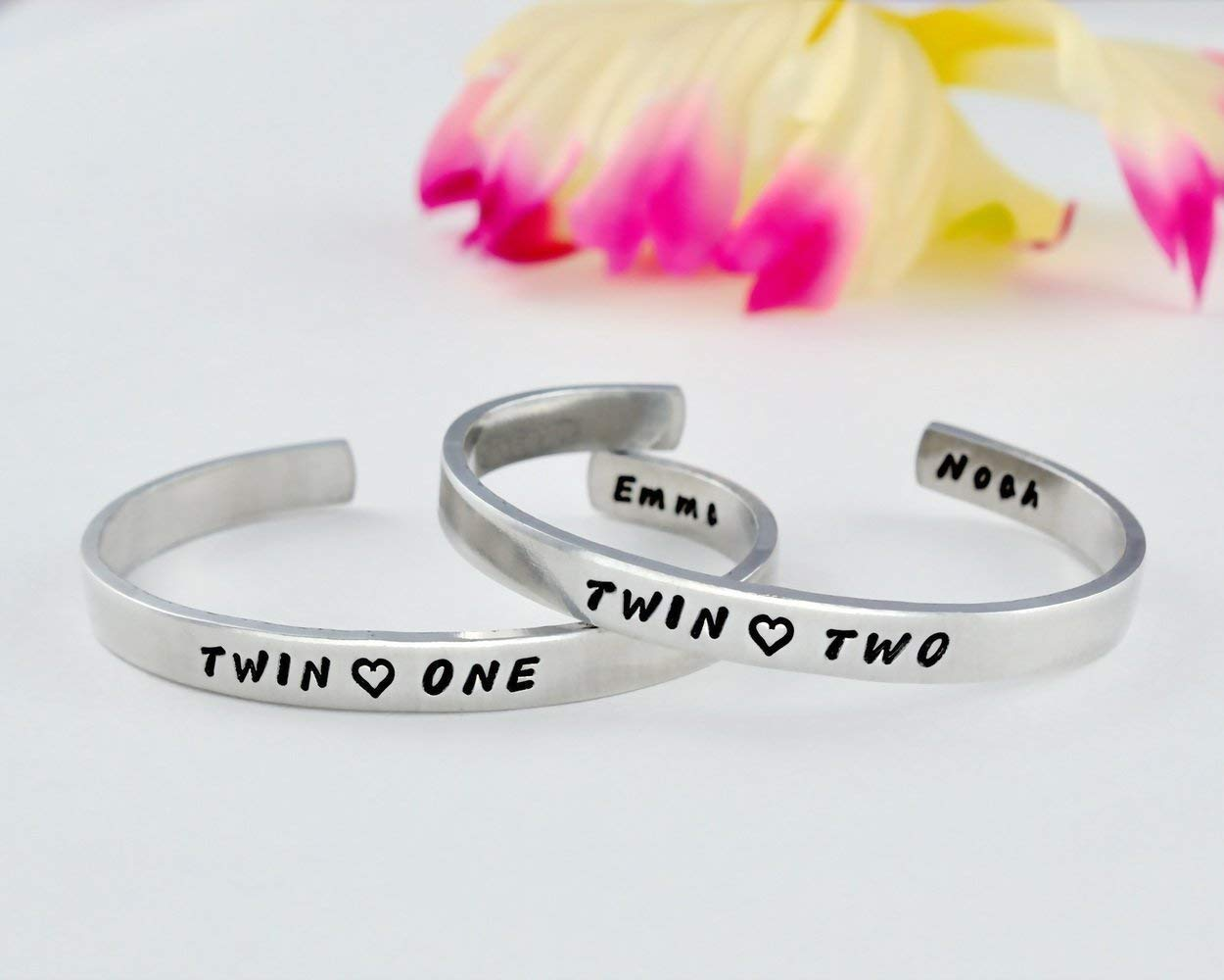 Copper or Brass Cuff Bracelets Set of 2 Best Friends BFF Besties Personalized Gift Twin Sisters Matching Pair Bangle Name Initials Customized Gift Twin Two Twin One Hand Stamped Aluminum