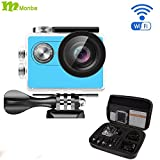 Monba ME20(Blue Color) 1080P Sports Action Camera waterproof wifi camcorder 12MP 170 Ultra Wide Angle- 2x900mAh Batteries portable package Accessory S