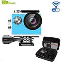 Monba ME20(Blue Color) 1080P Sports Action Camera waterproof wifi camcorder 12MP 170 Ultra Wide Angle- 2x900mAh Batteries portable package Accessory Set