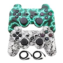 Bowink 2 Packs Wireless Bluetooth Controllers For PS3 Double Shock (Green lighning and White Skull)