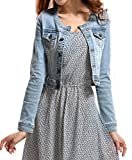 Fundu Women's Sweet Summer Cool Light Blue Denim Crew-neck Long Sleeve Top Jacket US 8