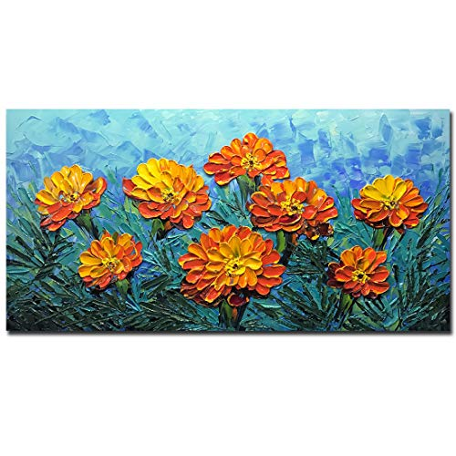 Yotree Paintings, 24x48 Inch Paintings Brilliant Flowers Oil Hand Painting 3D Hand-Painted On Canvas Abstract Artwork Art Wood Inside Framed Hanging Wall Decoration Abstract Painting