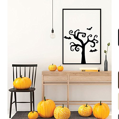 Halloween Decoration -Tree With Bats Silhouette Wall Decal - Fall Vinyl Decor for the Home, Office Or -