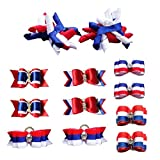 PET SHOW Patriotic Small Dogs Hair Bows With Rubber Bands Puppies Cats Topknot Headdress Grooming Hair Accessories For US Independence Day Party Costumes Pack of 12pairs/24pcs