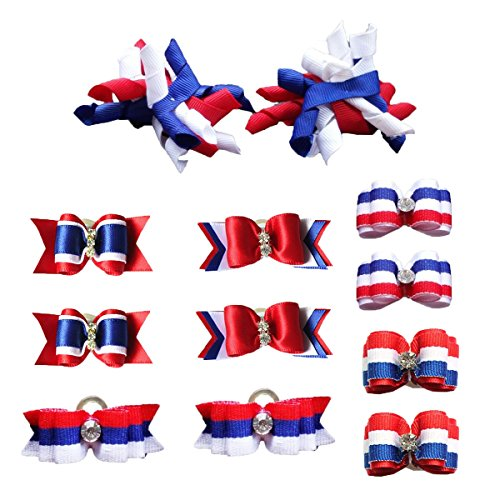PET SHOW Patriotic Small Dogs Hair Bows With Rubber Bands Puppies Cats Topknot Headdress Grooming Hair Accessories For US Independence Day Party Costumes Pack of 12pairs/24pcs by PET SHOW (Image #1)