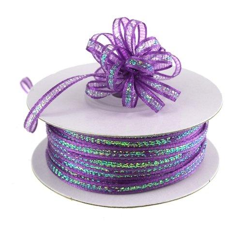 Purple Ribbon Bow (Homeford FCNPB0108465 Iridescent Pull String Bows 50 yd Ribbon, 1/8