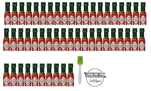 (Tabasco brand Pepper Sauce 50-pack Mini bottles 1/8oz Bottles with Silicone Basting Brush in a Prime Time Direct Box)