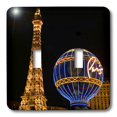 3dRose lsp_92193_2 Nevada Las Vegas Paris Hotel & Casino at Night Us29 Bja0034 Jaynes Gallery Double Toggle Switch