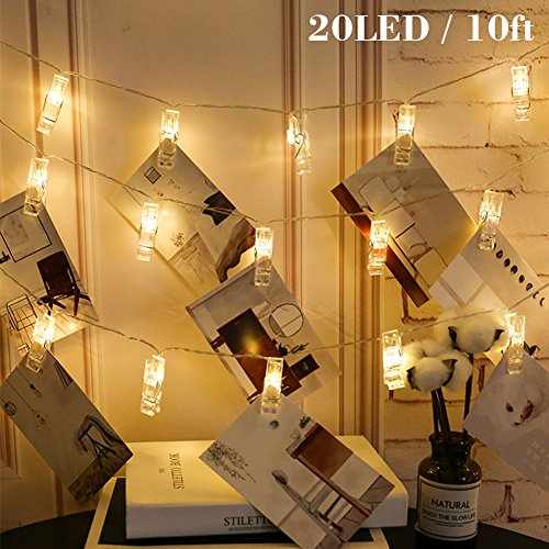 Twinkle Star 10ft 20 Photo Clips String Lights Battery Operated Fairy String Lights with Clips for Hanging Pictures, Cards, Artwork, Warm White -