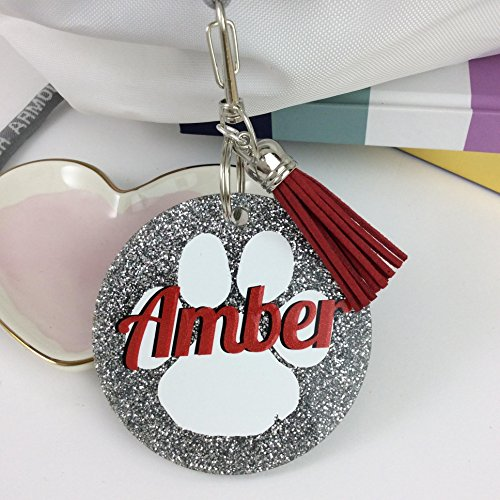 Paw Print Glitter Bag Tag, Personalized, Monogrammed with Your Name and Your Colors - School Spirit Tags