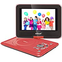 ieGeek 9.5 Portable DVD Player with 5 Hour Rechargeable Battery, Supports SD Card and USB, with 75'' Car Charger and Game Joystick, Perfect for Kid and Road Trip (Red)
