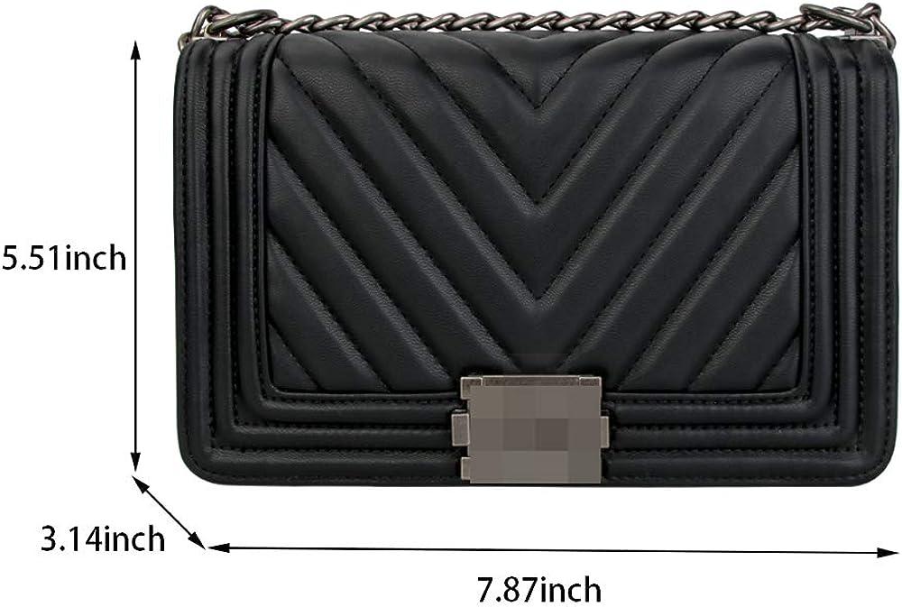 FADE Womens Classic Quilted Crossbody Purse Shoulder Bags Golden Chain Satchel Handbags