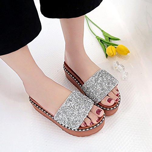 piste elegante AJUNR 39 pan scarpe e Da spagna argento Donna trascinare Sandali Moda con spessa rilasciare i Pantofole e Alla 5cm 39 di 6Y4qHrw6x