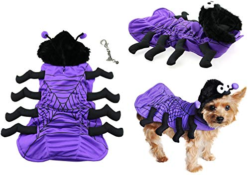 DOGGIE-DOGGIE Cute Spooky Purple Spider Plush Costume and Halloween Themed Accessory - for Dogs - Sizes XS Thru XL (Medium - Chest 16-19