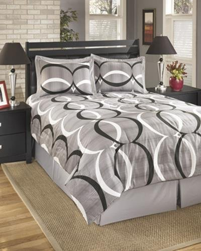 - Ashley Furniture Signature Design - Primo Bedding Set - Queen - Contains 4 Pieces - Includes Bed Skirt, 2 Shams & Oversized Comforter - Alloy