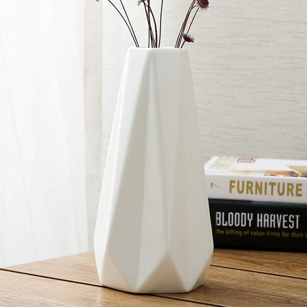 WEIDILIDU White Ceramic Vase Modern Home Decoration Porcelain Vase Flower Vase Origami Design (weidilidu-517)
