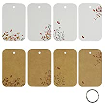 Rancco® 96 Thick Kraft Paper Binder Ring Easy Flip Flash Card Study Cards/ Memo Scratch Pads/ Bookmark/ DIY Greeting Card/ Index Card Stock/ Note Card(2 set, 48 sheets per set)