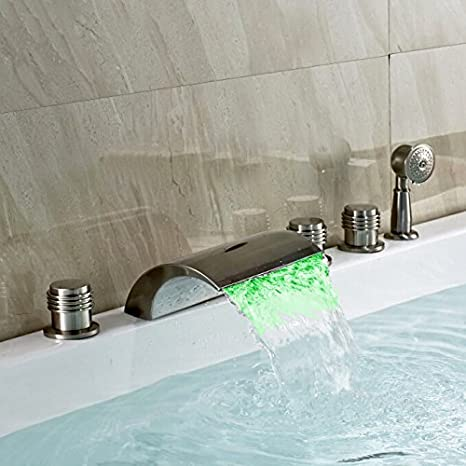 Bon Homili Widespread Bathroom Waterfall Bathtub Faucet Set LED Roman Tub  Filler With Handheld Shower Brushed Nickel