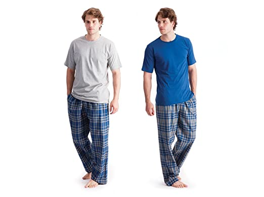 737009c91d Image Unavailable. Image not available for. Colour  Mens Nightwear Plain T- Shirt   Check Printed Flannel Pants Grey ...