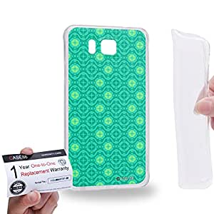 Case88 [Samsung Galaxy Alpha] Gel TPU Carcasa/Funda & Tarjeta de garantía - Art Fashion Aqua Moroccan 1779