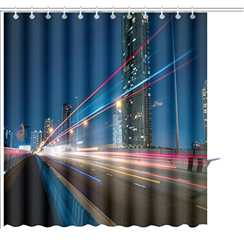MuaToo Shower Curtain night city with speed light ray from car vehicle on the road Graphic Print Polyester Fabric Bathroom Decor Sets with Hooks 48 x 72 Inches