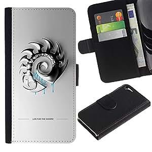 JackGot ( Live For Swarm ) Apple iPhone 5 / iPhone 5S la tarjeta de Crédito Slots PU Funda de cuero Monedero caso cubierta de piel