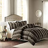 Madison Park Zuri Duvet Cover King Size - Khaki, Animal Duvet Cover Set – 4 Piece – Faux Fur Light Weight Bed Comforter Covers