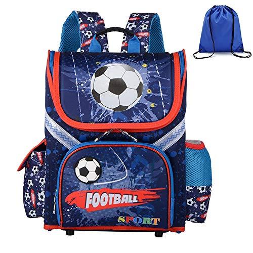 LFSHUB Hochwertige Jungen Schulrucksäcke Orthopädische 3D Muster Kinder Packsack Kinder Gründschule Taschen Kind Jungen Rucksack Football