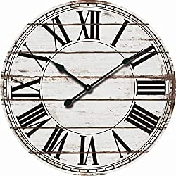 MISC Frameless Shiplap Wall Clock Distressed Rustic White Wooden Planks Clock Face Large Black Roman Numerals Analog Hanging Timepiece, 24 inch Round