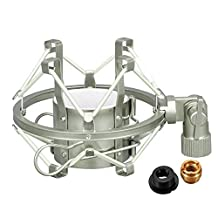Microphone Shock Mount, eBerry Anti Vibration Suspension Microphone Shock Mount Holder Clip for 43-46mm Condenser Mic, Ideal for Voice-over, Song Recording, Radio Broadcast and Podcast (Metal, Silver)