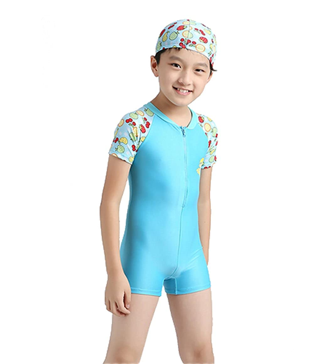 KM Unisex-kids One-Pieces Sunscreen Surfing Bikini Swimsuit/Swimwear Male Blue)