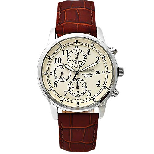 Seiko Men's SNDC31 Classic Stainless Steel Chronograph Watch with Brown Leather Band -