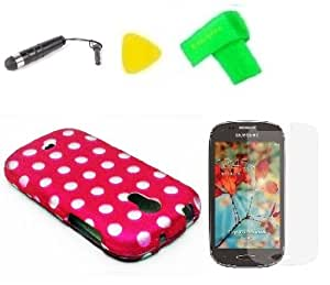 Pink Polka Hard Case Phone Cover + Extreme Band + Stylus Pen + Lcd Screen Protector + Yellow Pry Tool For Samsung Galaxy Light T399 T 399 Sgh-T399 / Garda