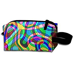 Psychedelic Community Colors Art Pattern Portable Make-up Receive Bag Hand Cosmetic Bag Makeup Bag Sewing Kit Medicine Bag For Home Office Travel Camping Sport Gym Outdoor With Hanging Zipper